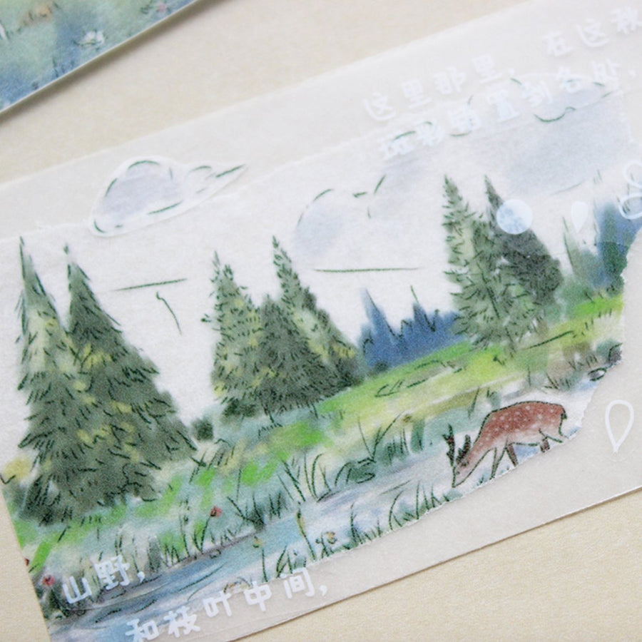 Moodtape Morning Countryside Landscape Large Washi Tape - shop Stationery & Gifts store online