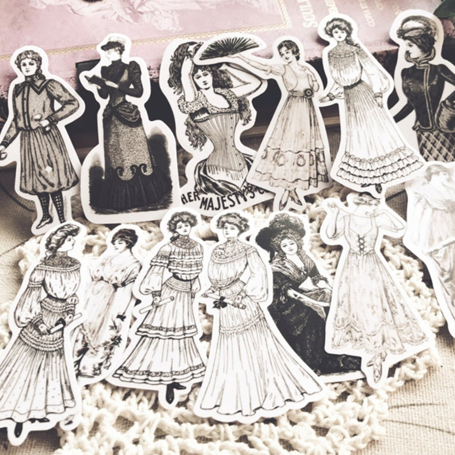 Vintage Elegant European Ladies Stickers 14PCS - shop Stationery & Gifts store online