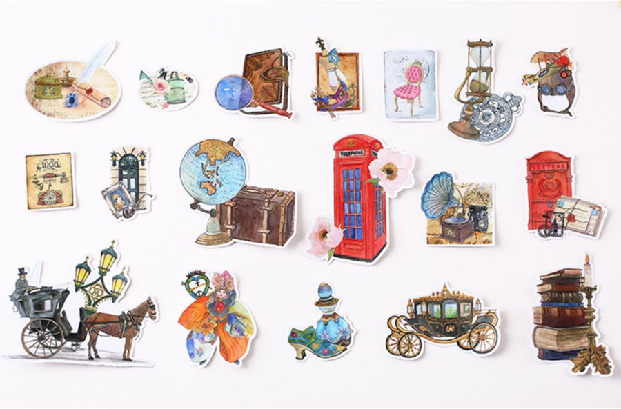 18pcs Vintage 80's European Lifestyle Stickers by MING - shop Stationery & Gifts store online