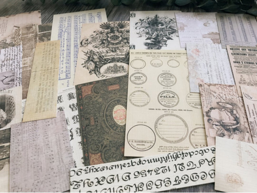 Large Ephemeral Junk Journal Pack A 54pcs: Vellum Paper + Cards (Non-adhesive) - shop Stationery & Gifts store online