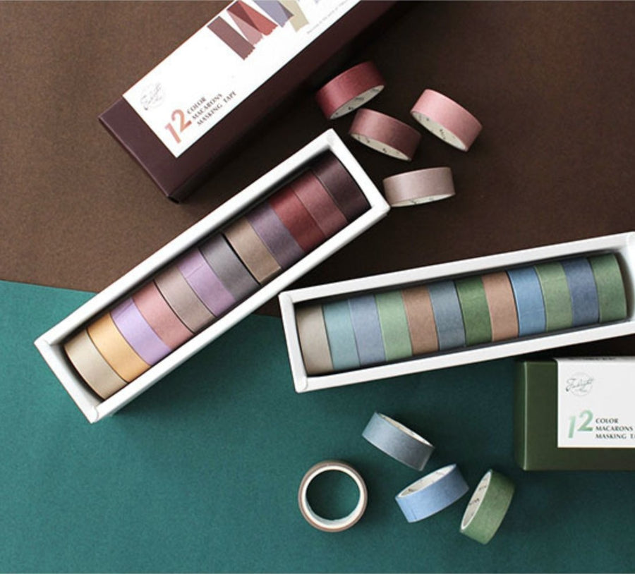12 Colors Minimalist Washi Tape Set - shop Stationery & Gifts store online