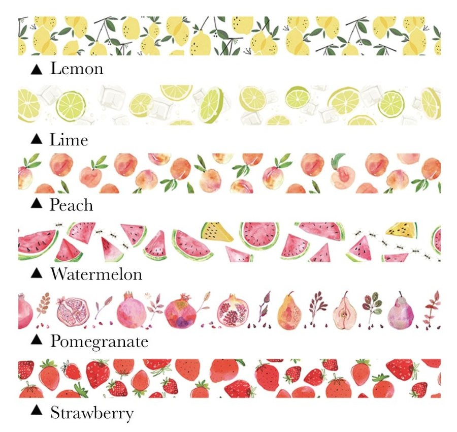 Pretty Hand-Drawn Watercolor Fruit Washi Tape - shop Stationery & Gifts store online