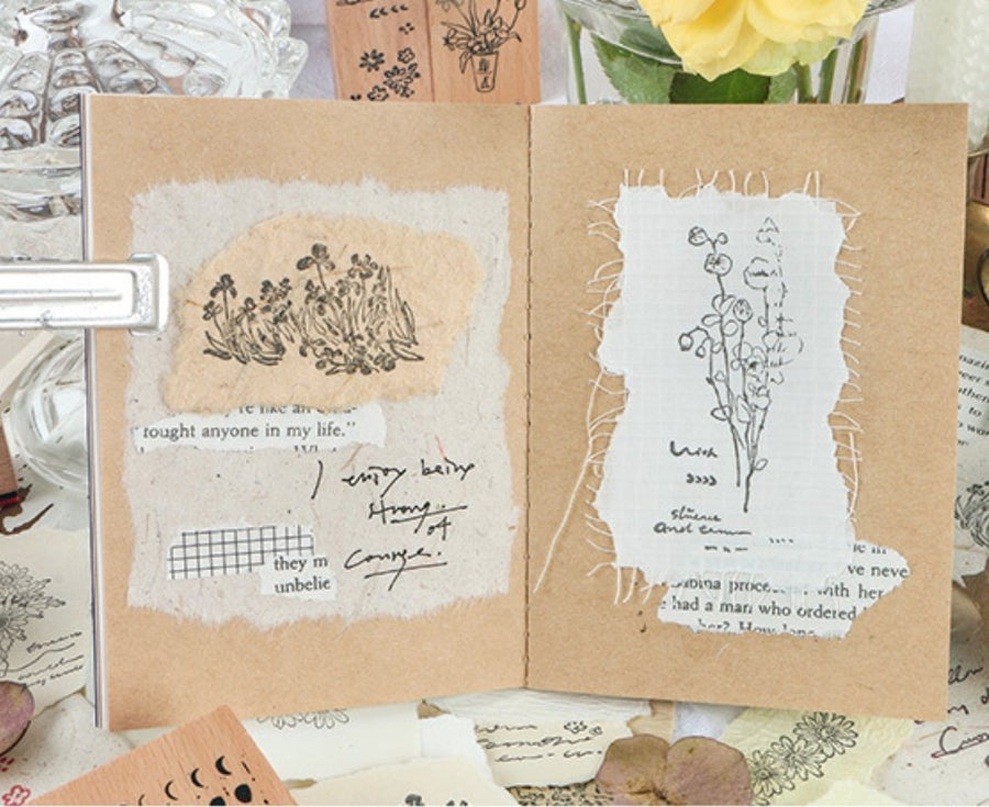 Wild Flowers Stamp Set 5pcs | Plant Doodle Stamp - shop Stationery & Gifts store online