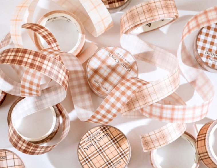 Cozy Style Plaid Masking Tape With Release Liner | Translucent Vellum Paper Basic Grid Masking Tape - shop Stationery & Gifts store online