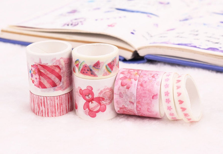 I Love Pink Washi Tape Set 8 Per Set | Cherry Blossom Candy Tape - shop Stationery & Gifts store online