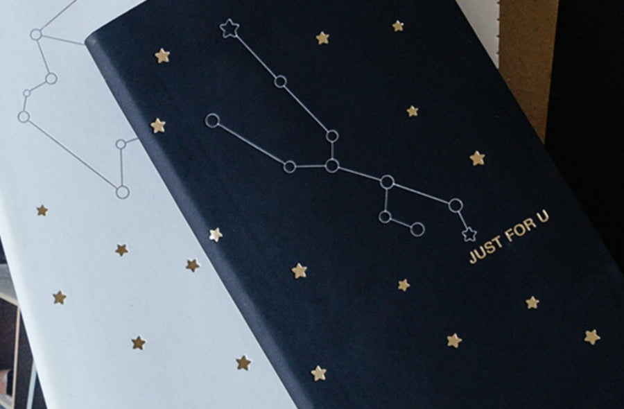 The Starry Sky Gold Foil Faux Leather Weekly Planner Constellation Cover - shop Stationery & Gifts store online