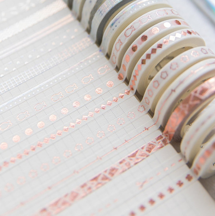 Rose Gold Foil Laser Bronzing Decorative Tape Journal Washi Tape - shop Stationery & Gifts store online