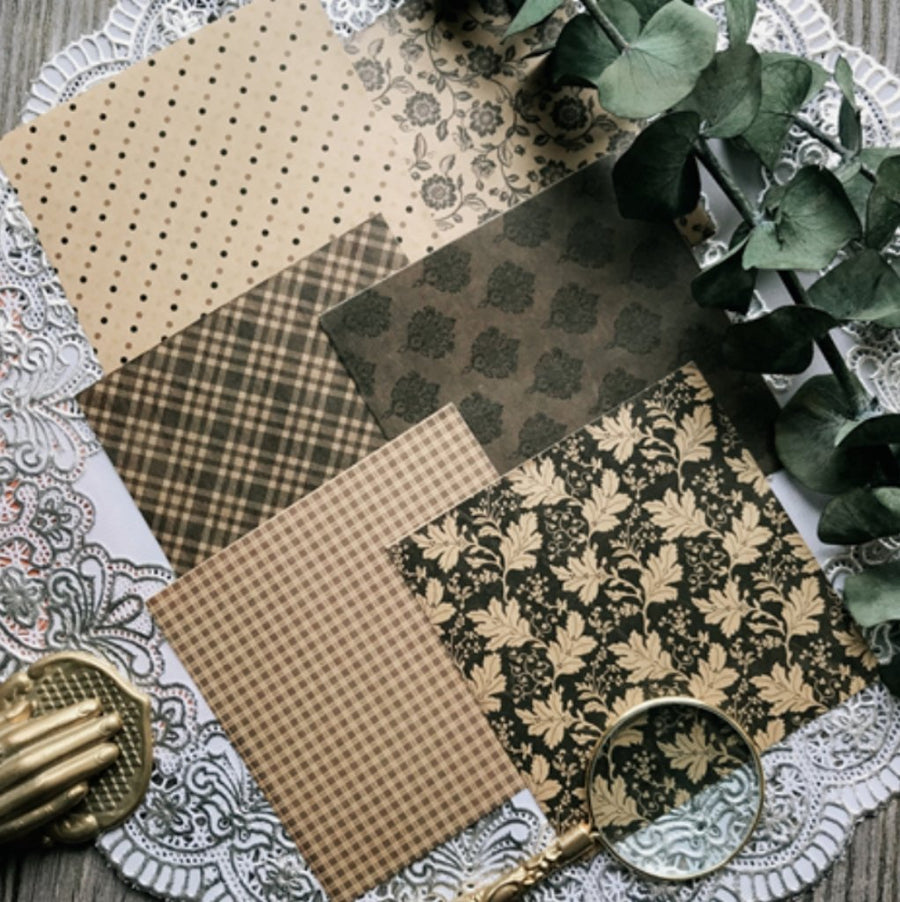 Vintage Patterned Background Floral Polka Dot Stickers 6 sheets - shop Stationery & Gifts store online