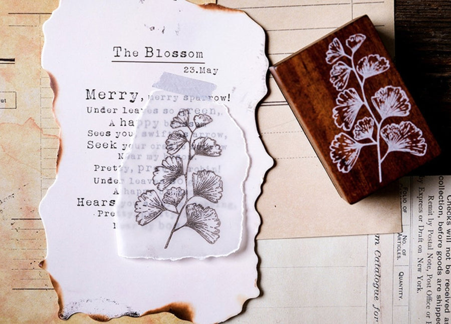 Vintage Botanical Plant Wooden Rubber Stamps - shop Stationery & Gifts store online