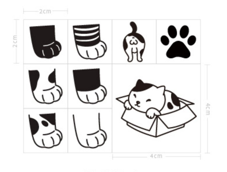 Cute Kitty Cat Paws Wooden Stamp - shop Stationery & Gifts store online