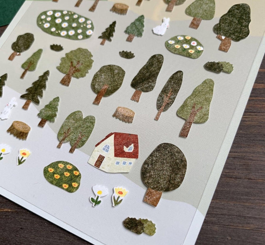 Suatelier Forest Life Korean Sticker Sheet - shop Stationery & Gifts store online