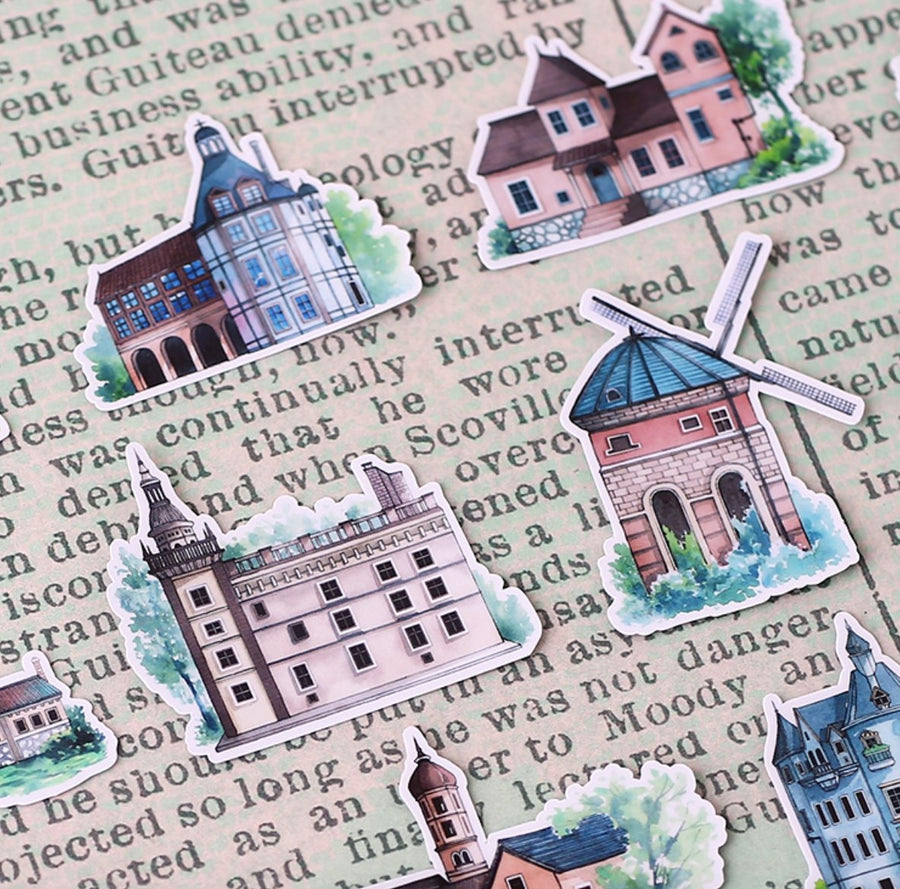 20pcs Hand-Drawn Translucent Victorian European Building Stickers