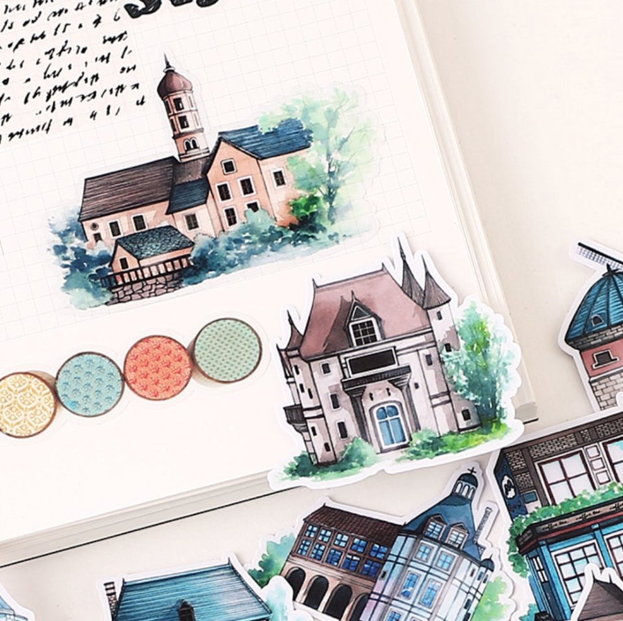 20pcs Hand-Drawn Translucent European Building Sticker Set - shop Stationery & Gifts store online