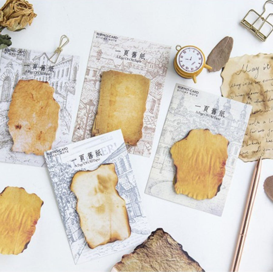 Burned Vintage Paper Sticky Notes - shop Stationery & Gifts store online