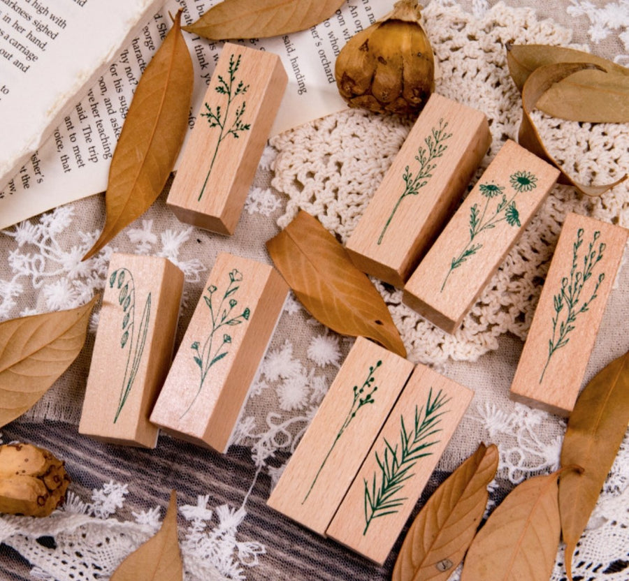 Botanical Plants And Flowers Wooden Stamps - shop Stationery & Gifts store online