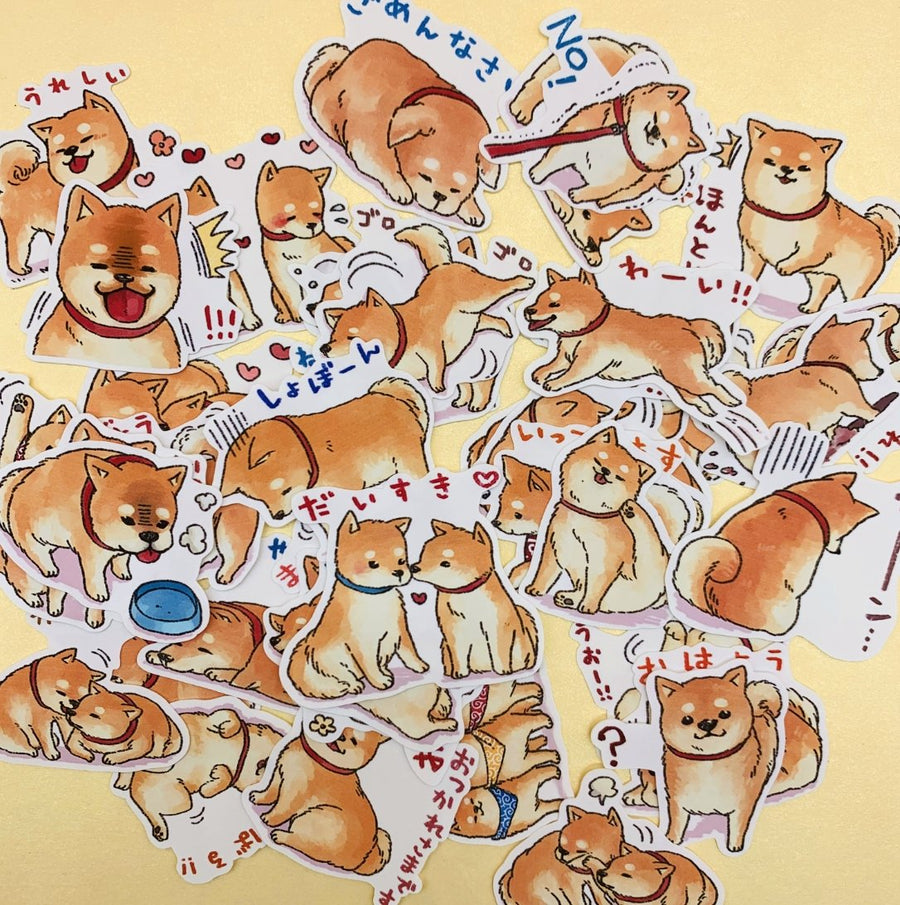 Adorable Shiba Inu Japanese Sticker Set 40 Sheets - shop Stationery & Gifts store online