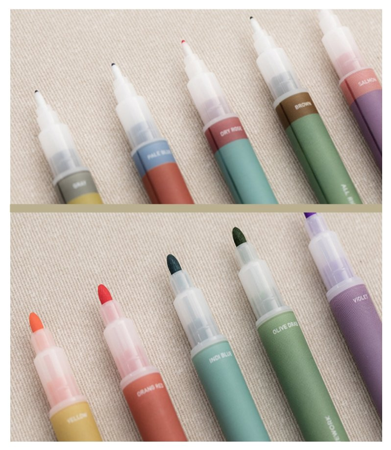 LiveWork Korean Vintage Dual Tip Journaling Pens Markers - shop Stationery & Gifts store online