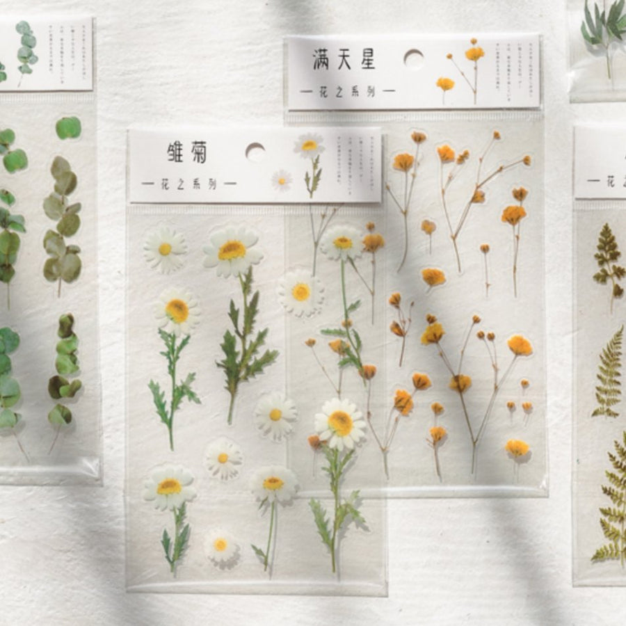 Transparent Botanical Flower Plant Sticker Sheet - shop Stationery & Gifts store online