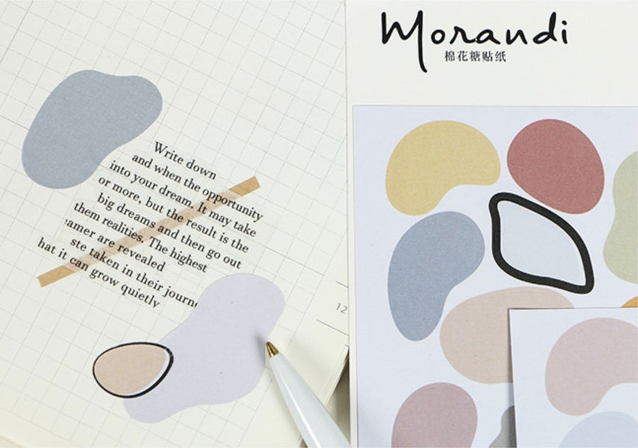 Cotton Shaped Morandi Color Precut Label Stickers 2 Sheets - shop Stationery & Gifts store online