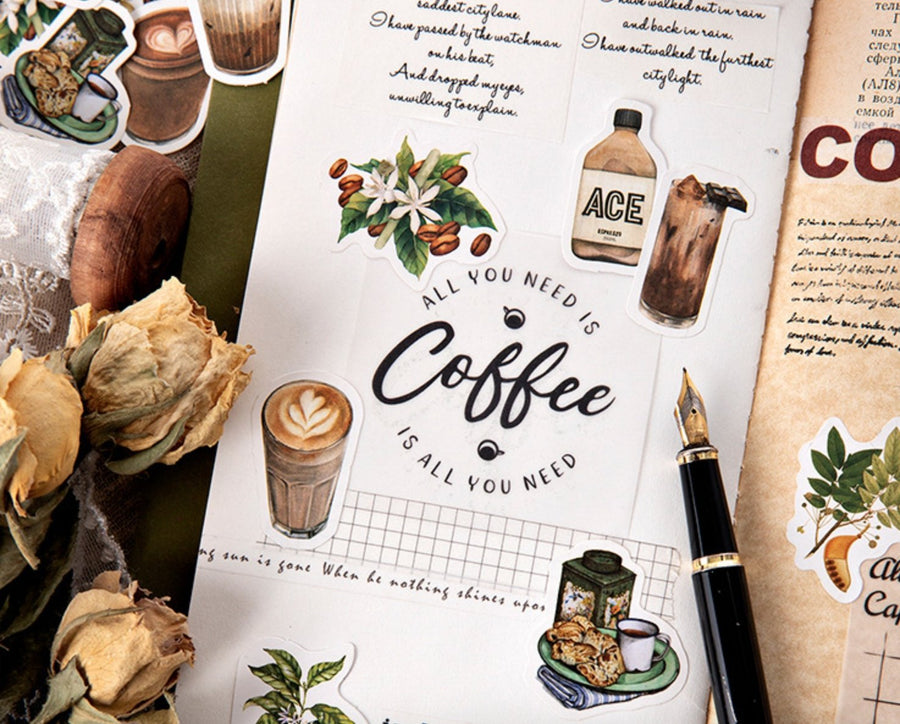 46pcs Hand-Drawn Coffee Stickers Vintage Theme | Journal Planner Stickers - shop Stationery & Gifts store online