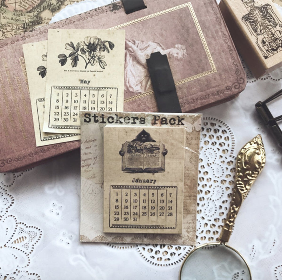 Vintage Kraft Paper Monthly Calendar Cards 24pcs - shop Stationery & Gifts store online