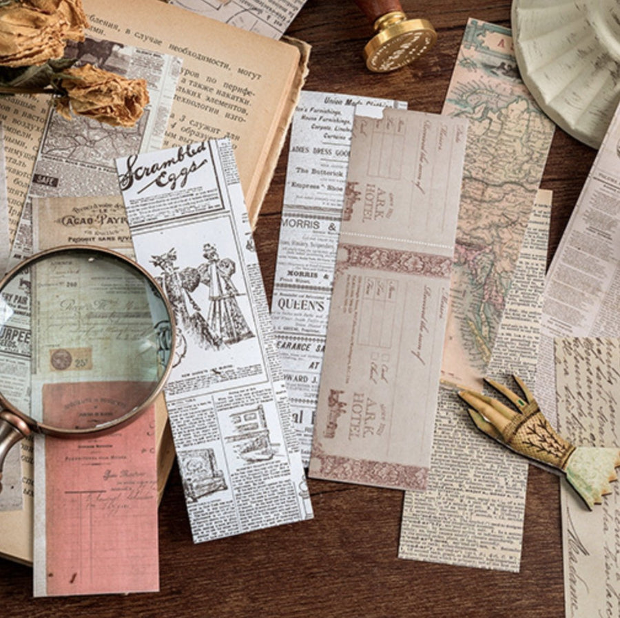 30 Vintage Ephemeral Sticky Newspaper Sheets | Bookmarks - shop Stationery & Gifts store online