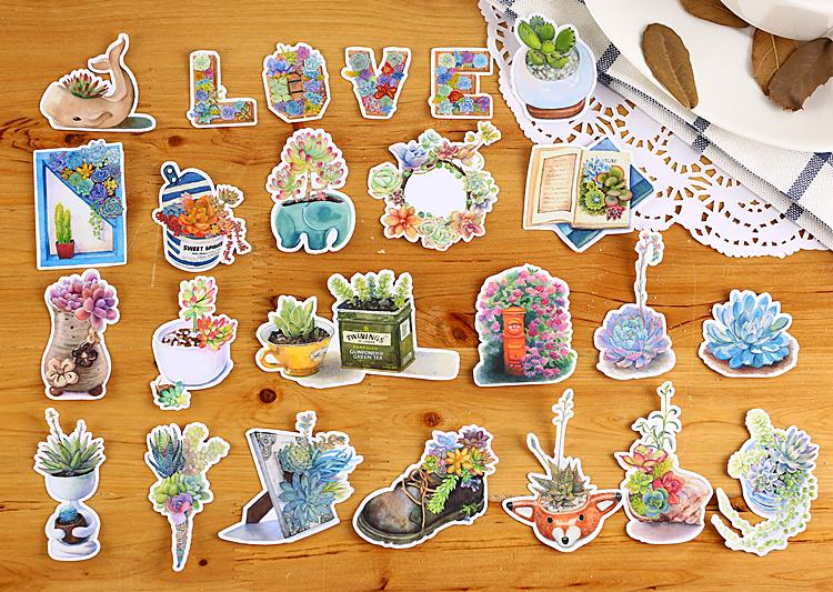 20pcs Potted Succulent Plant Cactus Translucent Nature Stickers by MING - shop Stationery & Gifts store online