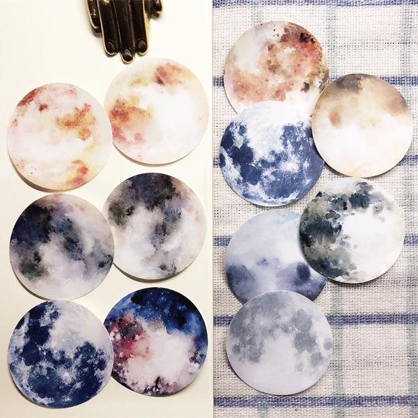 Fascinating Full Moon Planet Stickers 12 Sheets - shop Stationery & Gifts store online