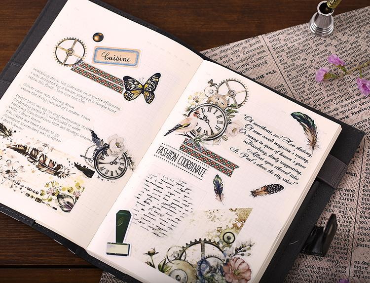 21pcs Vintage Floral Watch Translucent Journal Stickers - shop Stationery & Gifts store online