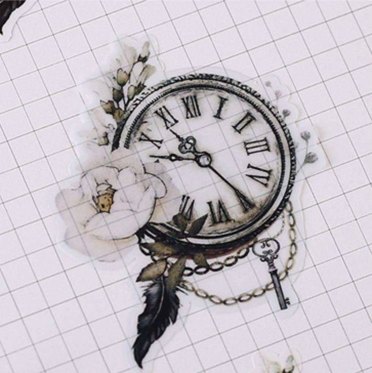 21pcs Vintage Floral Pocket Watch Stickers