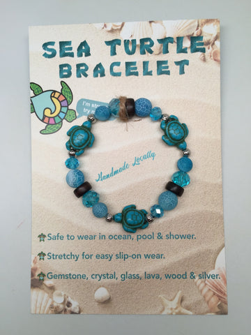 Handmade Sea Turtle  Bracelet - Dark Aquamarine