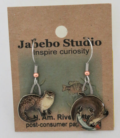 Recycled North American River Otter Earrings