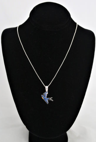 Artistic Flying Bluebird Necklace by Julia Pinkham
