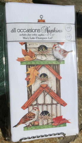All-Occasion Cotton Napkins - Autumn Birdhouse - Set of 4