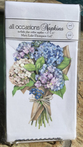All-Occasion Cotton Napkins - Hydrangea Bouquet - Set of 4