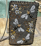 Bee Awesome Hand-beaded Honeybee Crossbody Phone Bag by Mary Frances