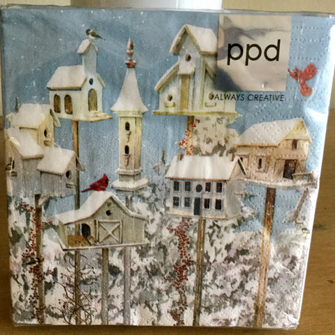 Beverage Napkins - Winter Birdhouses