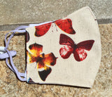 Triple Layer Fabric Face Mask with Adjustable Ear Straps - Bright Butterflies - FREE Fabric Bag Included