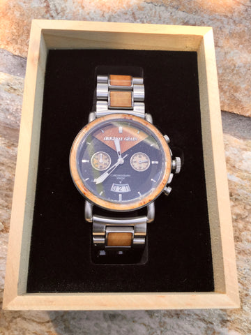 Original Grain - Burlwood Silver Alterra Chrono - 44mm Men's Watch