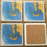 Absorbent Stone Coaster Set - Sanibel Island Map - Set of 4 - Square