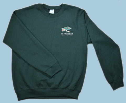 Sea Turtle Embroidered Pullover Sweatshirt - Forest Green