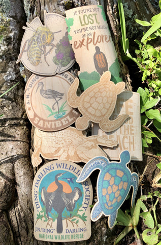 Eco-friendly Wood Stickers - 8 Wildlife Images - Handcrafted in the USA