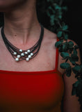 Reclaimed Piano Wire Necklace With Pearls - Slate