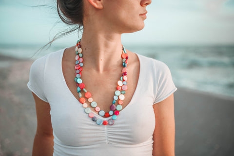 Mother of Pearl Single Strand Necklace - Multi-Color
