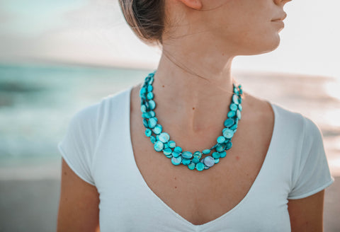Mother of Pearl Three Strand Necklace - Turquoise