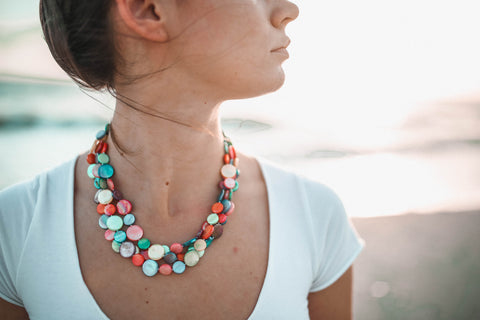 Mother of Pearl Three Strand Necklace - Multi-Color