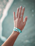Mother of Pearl Double Strand Bracelet - Aqua and Green