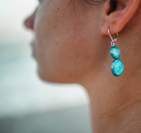 Mother of Pearl Drop Earring - Turquoise