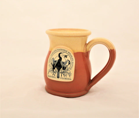 Hand Thrown Pottery Mug Coral with Light Yellow Glaze - Wildlife Society Logo
