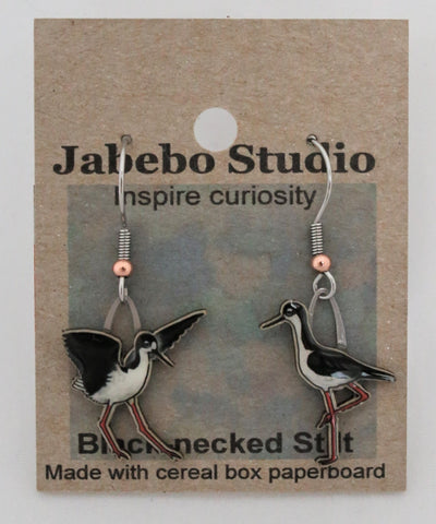 Recycled Black-Necked Stilt Earrings
